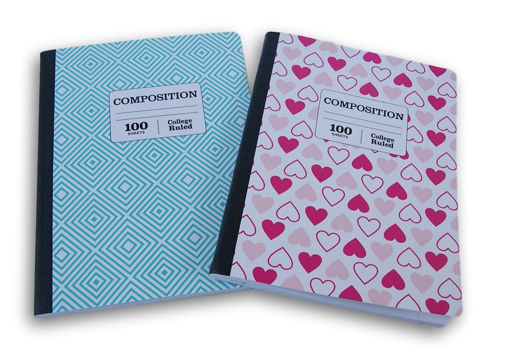 Hearts and Blue Triangles Patterned College Ruled 100 Sheets Composition Notebooks - (Pack of 2) by JOT