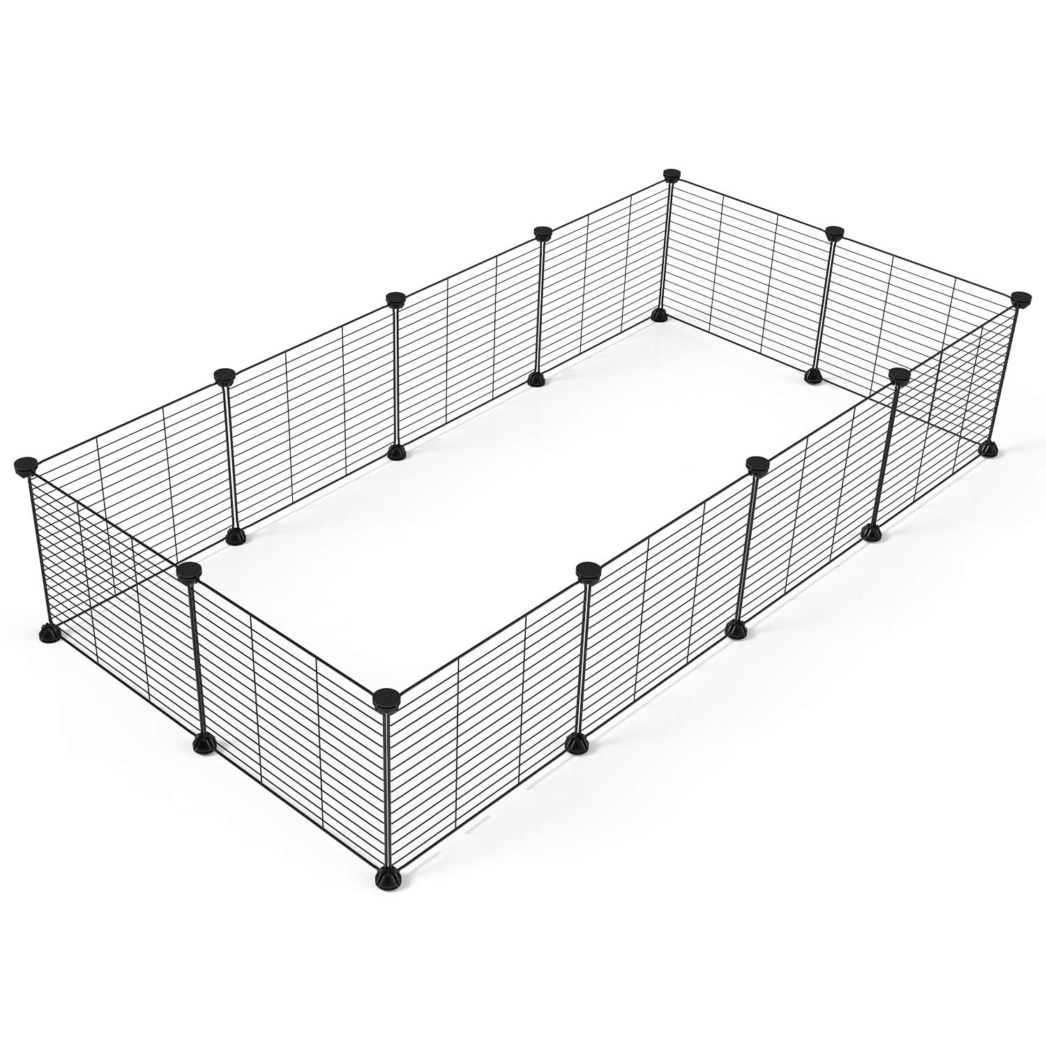 Tespo Pet Playpen, Small Animal Cage Indoor Portable Metal Wire yd Fence for Small Animals, Guinea Pigs, Rabbits Kennel Crate Fence Tent, Black 12 Panels by Tespo
