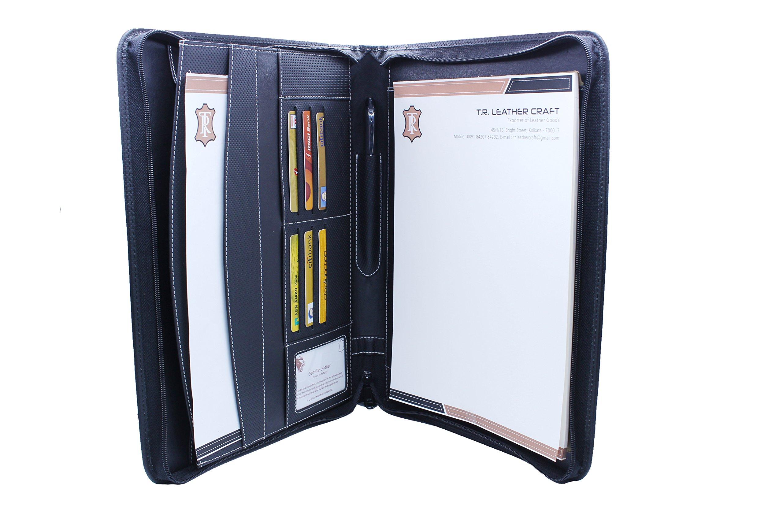 Premium Genuine Leather RFID Blocking Business Portfolio/Professional Organizer with Zipper Black by Lowenherz (14.25 x 10.75 x 1.15, Samsonite Black)