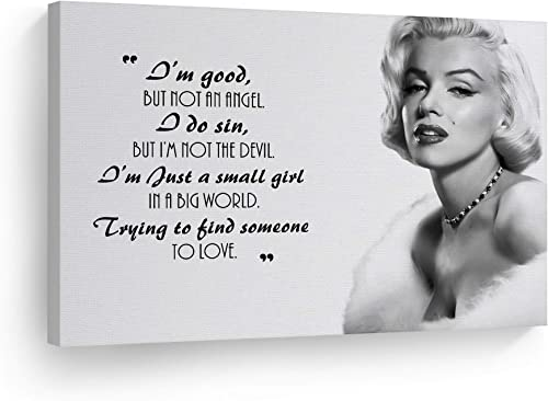 Smile Art Design Marilyn Monroe Quotes 'I'm Good but not an Angel' Canvas Print Decorative Art Modern Wall Decor Artwork Living Room Bedroom Wall Art