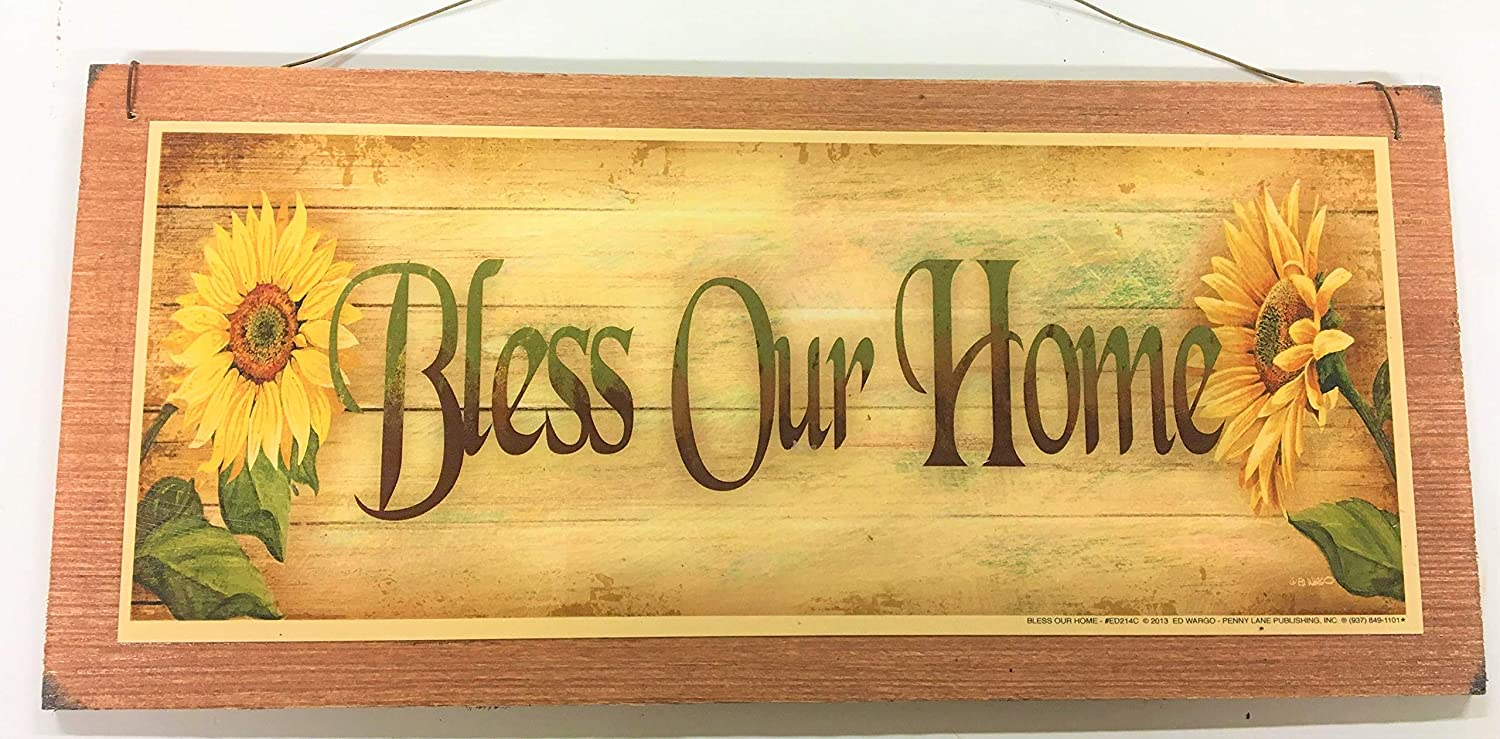 Amazon.com: Sunflower Bless Our Home Wooden Wall Art Sign Country ...