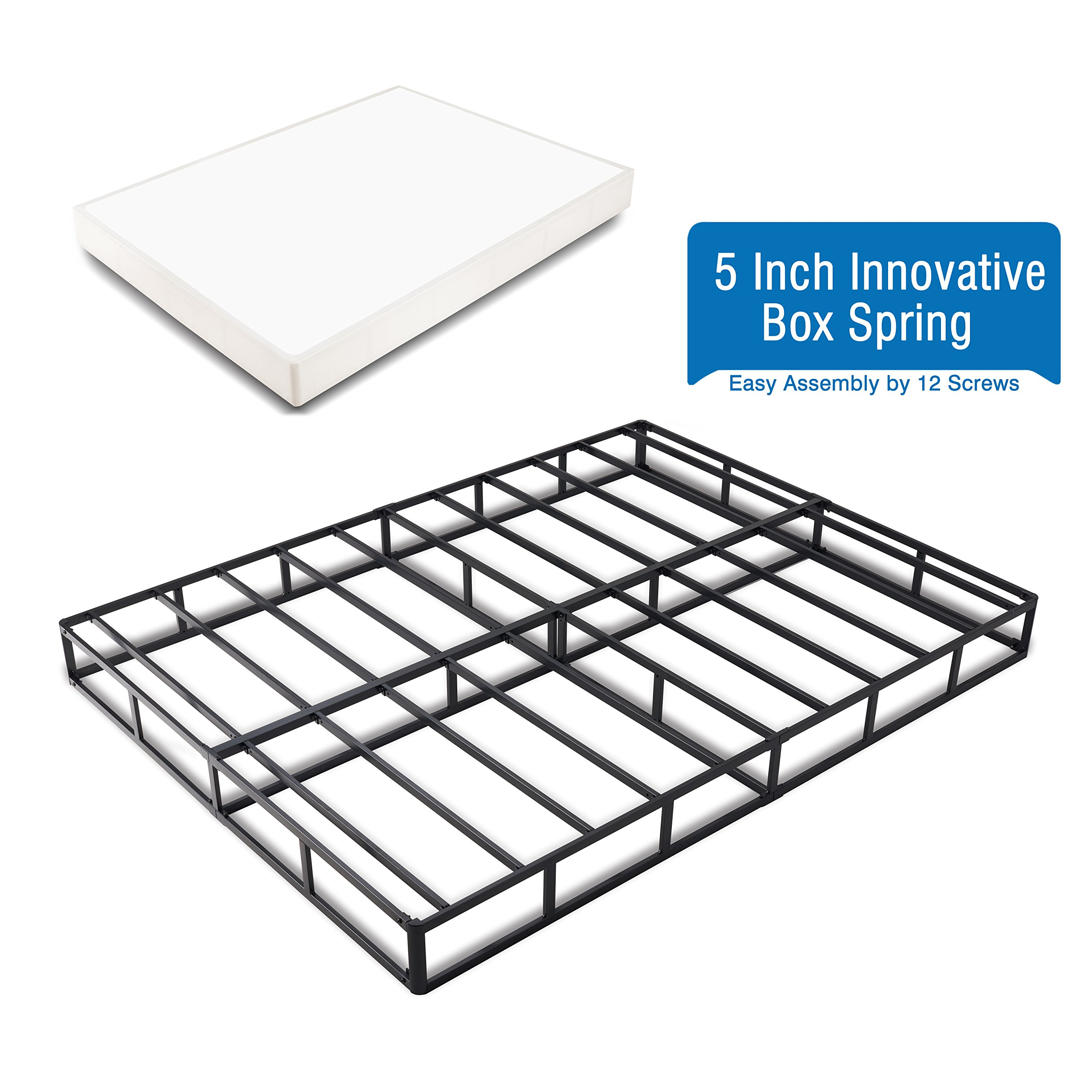 Heavy Duty 5 Inch Innovative Box Spring/ Strong Steel Structure Mattress Foundation (Easy Assembly by 12 Screws) Queen