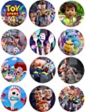 "Toy Story 4 Movie Stickers, Large 2.5"" Round Circle DIY Stickers to Place onto Party Favor Bags, Cards, Boxes or Containers -12 pcs Forky Duke Caboom Bunny Ducky Woody Buzz Lightyear Bonnie Bo Peep"