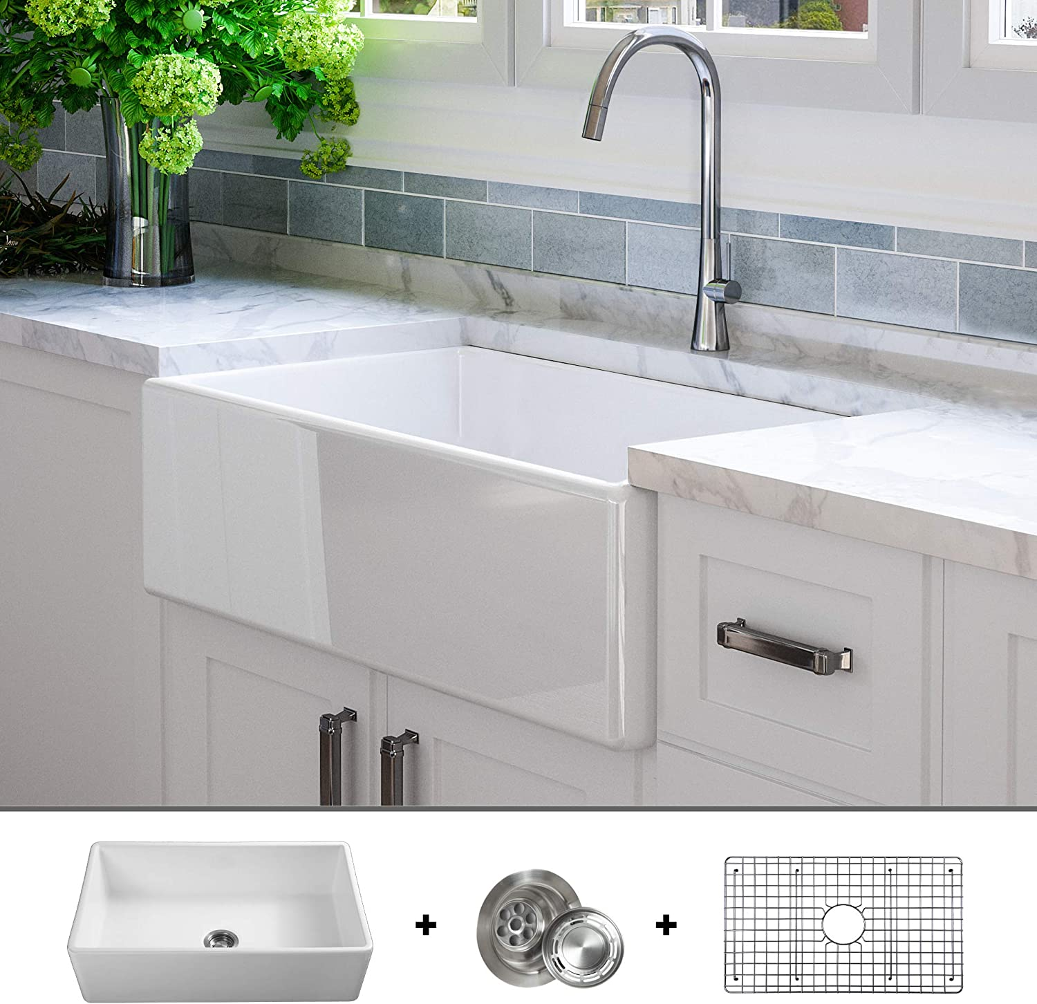 Luxury 33 inch Solid NOT HOLLOW , Ultra-Fine Fireclay Modern Farmhouse Kitchen Sink in White, Single Bowl, Flat Front, includes Grid and Drain, FSW1002 by Fossil Blu