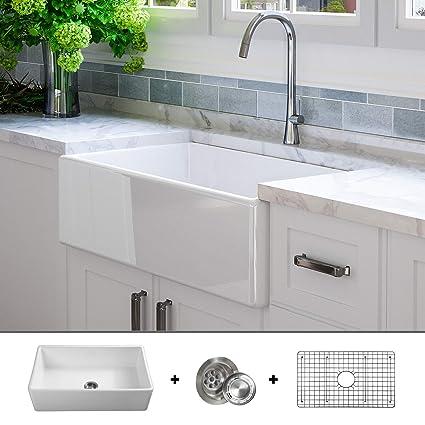 Luxury 33 Inch Pure Fireclay Modern Farmhouse Kitchen Sink In White