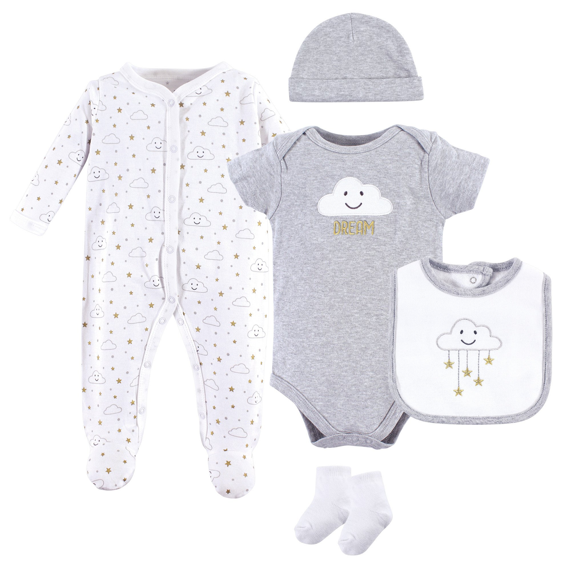 Hudson Baby Baby Multi Piece Clothing Set, Gray Clouds 5 Piece, 3-6 Months