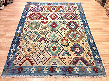 Tappeti Kilim Economici : Rugstore outlet geniune afghan chobi kilim blu multicolore 100% lana
