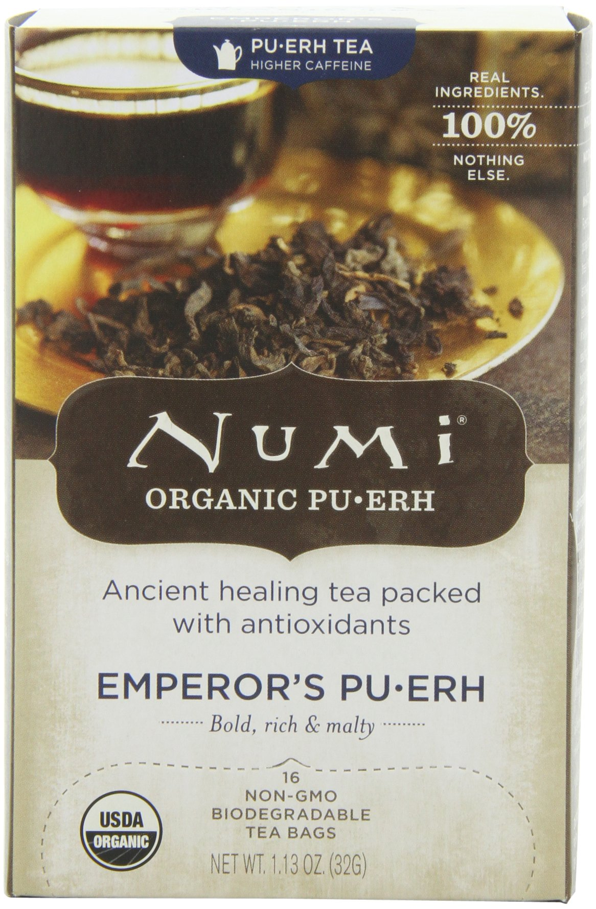 Numi Organic Tea Emperor's Pu-erh, Full Leaf Black Pu-erh Tea, 16-Count non-GMO Tea Bags (Pack of 2)