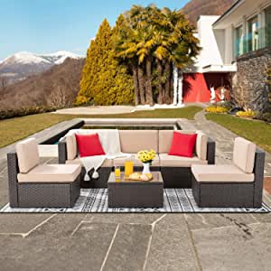 Shintenchi 6 Pieces Patio Furniture Sets Outdoor All-Weather Sectional Patio Sofa Set PE Rattan Manual Weaving Wicker Patio Conversation Set with Glass Table&Ottoman Cushion and Red Pillows (Brown)