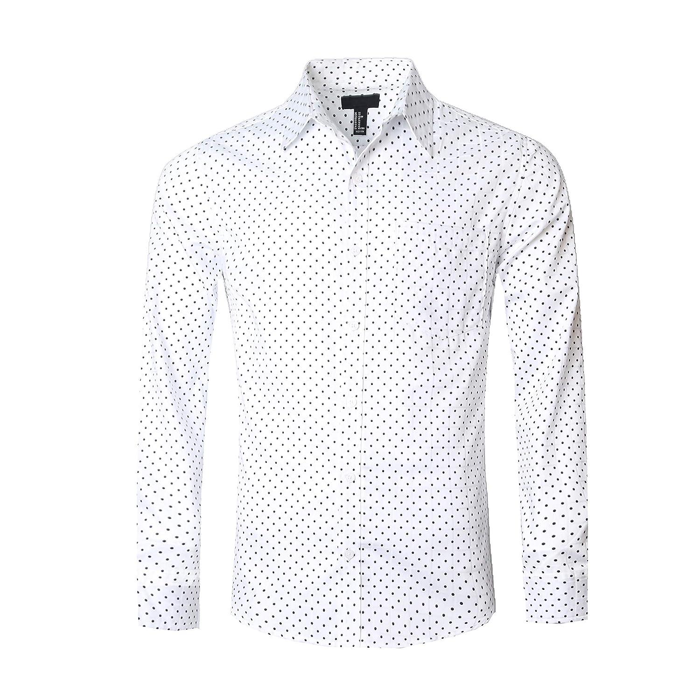 TALLA S. SOOPO Camisa de Manga Larga para Hombres Estampada de Puntos Camisa Lisa y Regular, tamaños