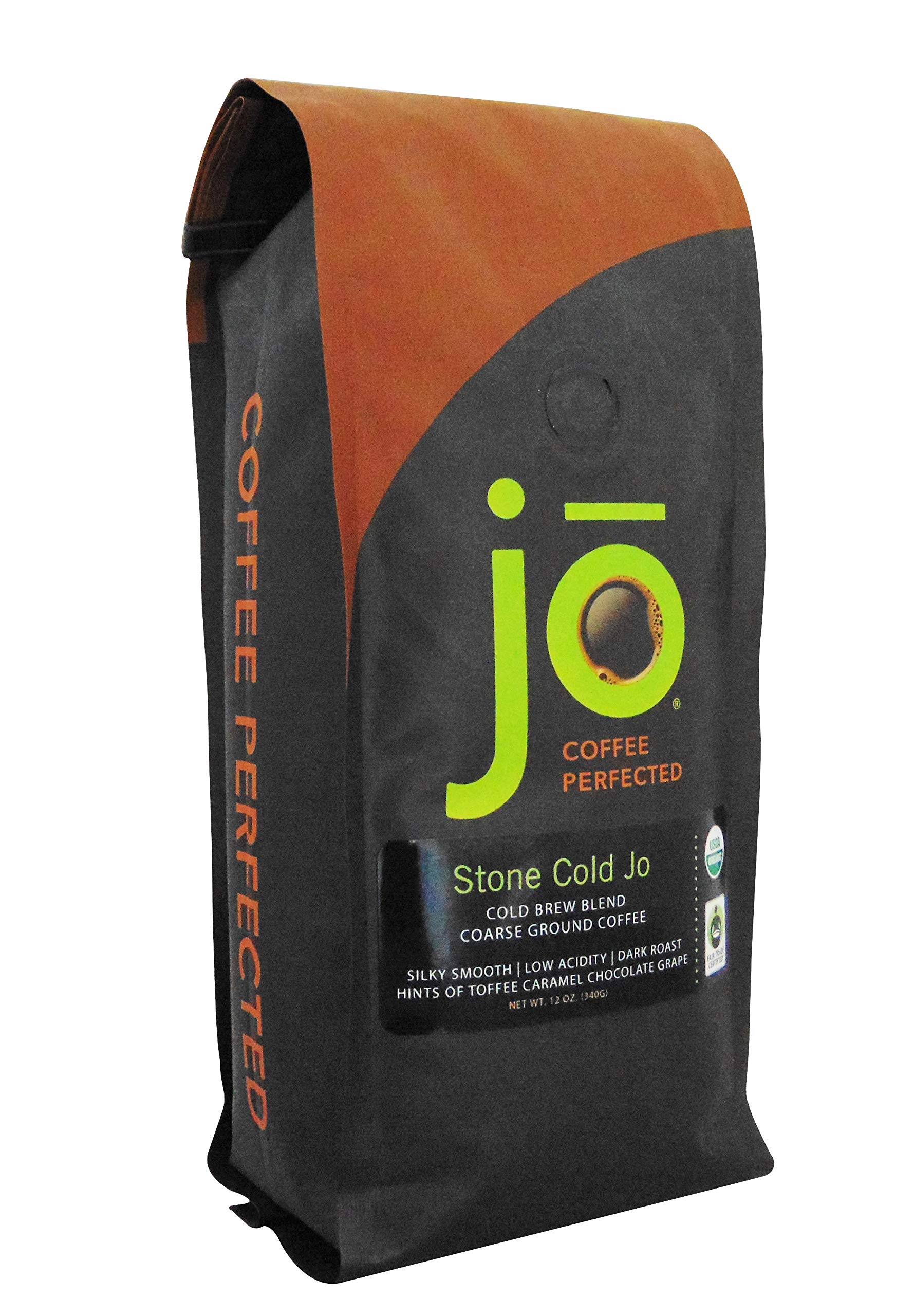 STONE COLD JO: 12 oz, Cold Brew Coffee Blend, Dark Roast, Coarse Ground Organic Coffee, Silky, Smooth, Low Acidity, USDA Certified Organic, Fair Trade Certified, NON-GMO, Great French Press Hot Brew