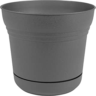 """product image for Bloem SP05908 Saturn Planter w/Saucer 5"""", Charcoal Gray"""