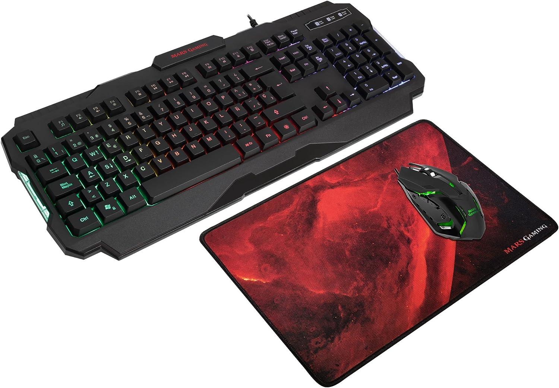 Mars Gaming MCP118, Pack Gaming RGB de Teclado, Ratón y Alfombrilla, Layout ES: Mars-Gaming: Amazon.es: Informática