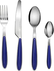 Exzact 24PCS Flatware Set Colored - Stainless Steel Silverware/Cutlery With Color Handles - 6 x Forks, 6 x Dinner Knives, 6 x Dinner Spoons, 6 x Teaspoons (Blue x 24)