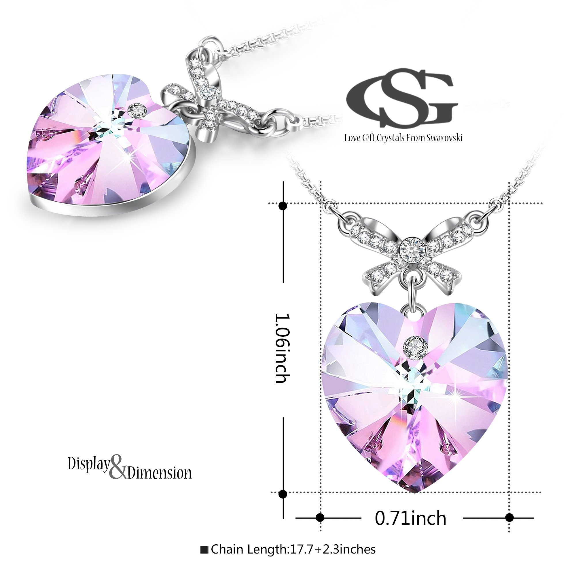 GEORGE · SMITH Gifts for Women Beautiful Soul Bowtie Love Heart Pendant Necklace Birthday Jewelry for Wife Mother Sister, Amethyst Purple Crystals from Swarovski