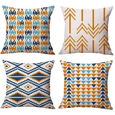 BLUETTEK Modern Simple Geometric Style Cotton Linen Burlap Vibrant Orange Throw Pillow Covers, 18 x 18 Inches, Set of 4 (Orange)