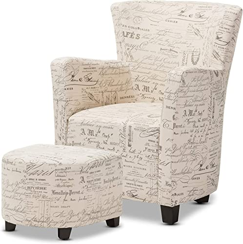 Baxton Studio Benson French Script Patterned Fabric Club Chair and Ottoman Set