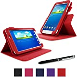 rooCASE Galaxy Tab 3 7.0 Case - Dual View PU Leather Case Cover Stand for Samsung Galaxy Tab 3 7.0 inch, Red