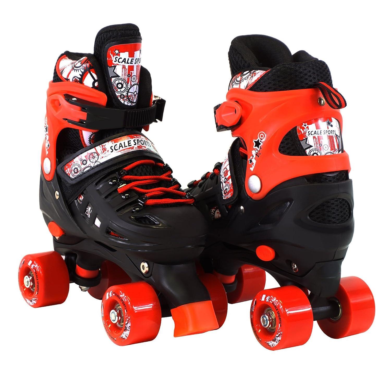 スケールスポーツ調節可能なQuad Roller Skates for Kidsサイズ13.5 Junior to 9大人用 B078PQY3V3 13.5J-3 Adult|レッド レッド 13.5J-3 Adult