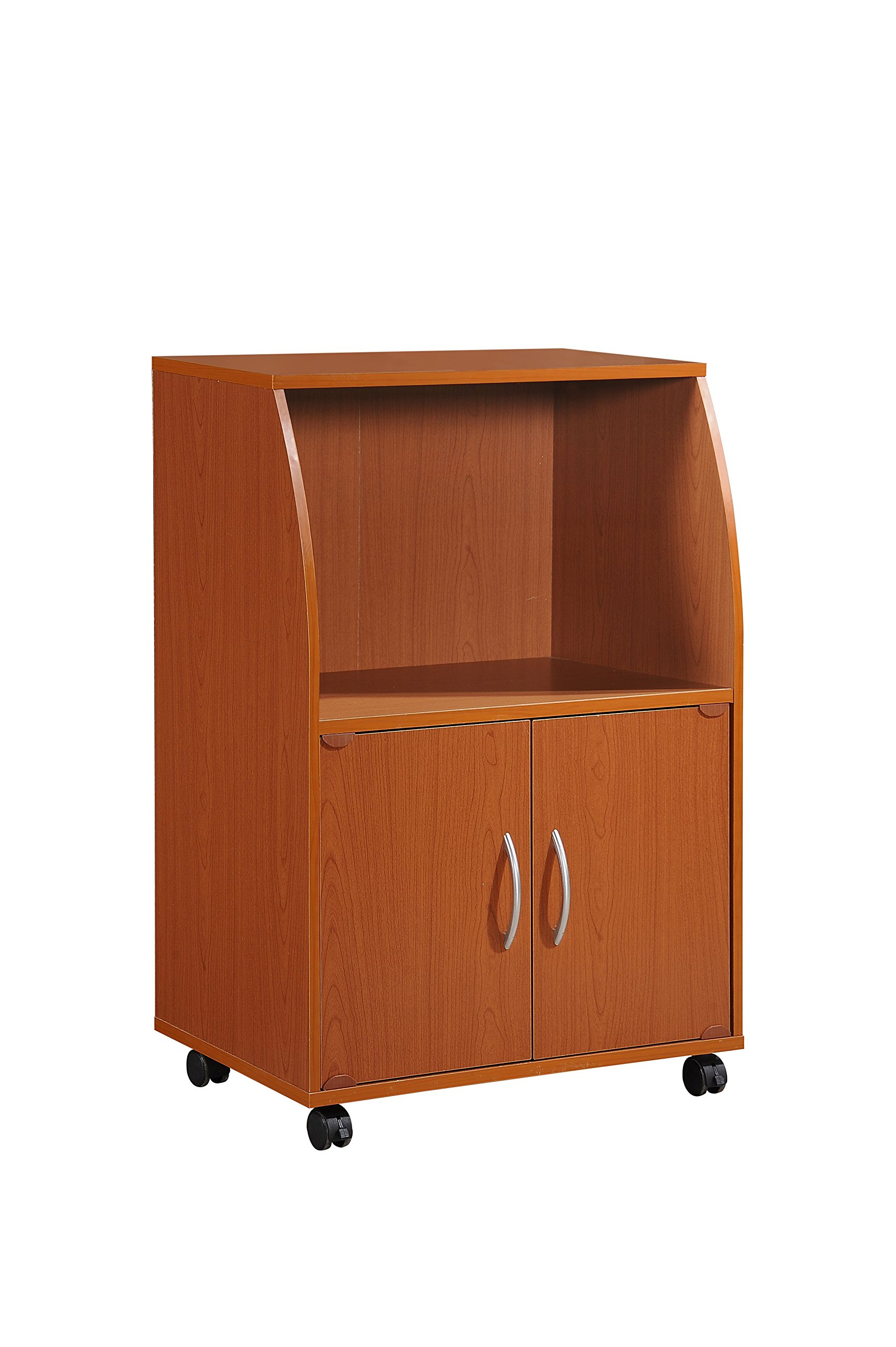 Hodedah Mini Microwave Cart with Two Doors and Shelf for Storage, Cherry