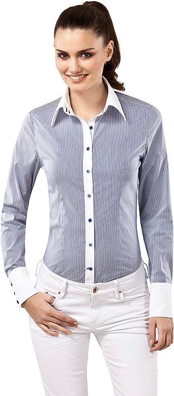 Vincenzo Boretti Camisa de Mujer, Ajustada Entallado (Slim-fit), Mezcla de algodón, Ligeramente elástica, Cuello Kent, Estampada de Rayas - fácil de ...