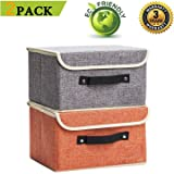 Small Storage Boxes 2 Pack Linen Collapsible Cube Set Washable Organizer Basket with Lid & Handle, Jane's Home Foldable…
