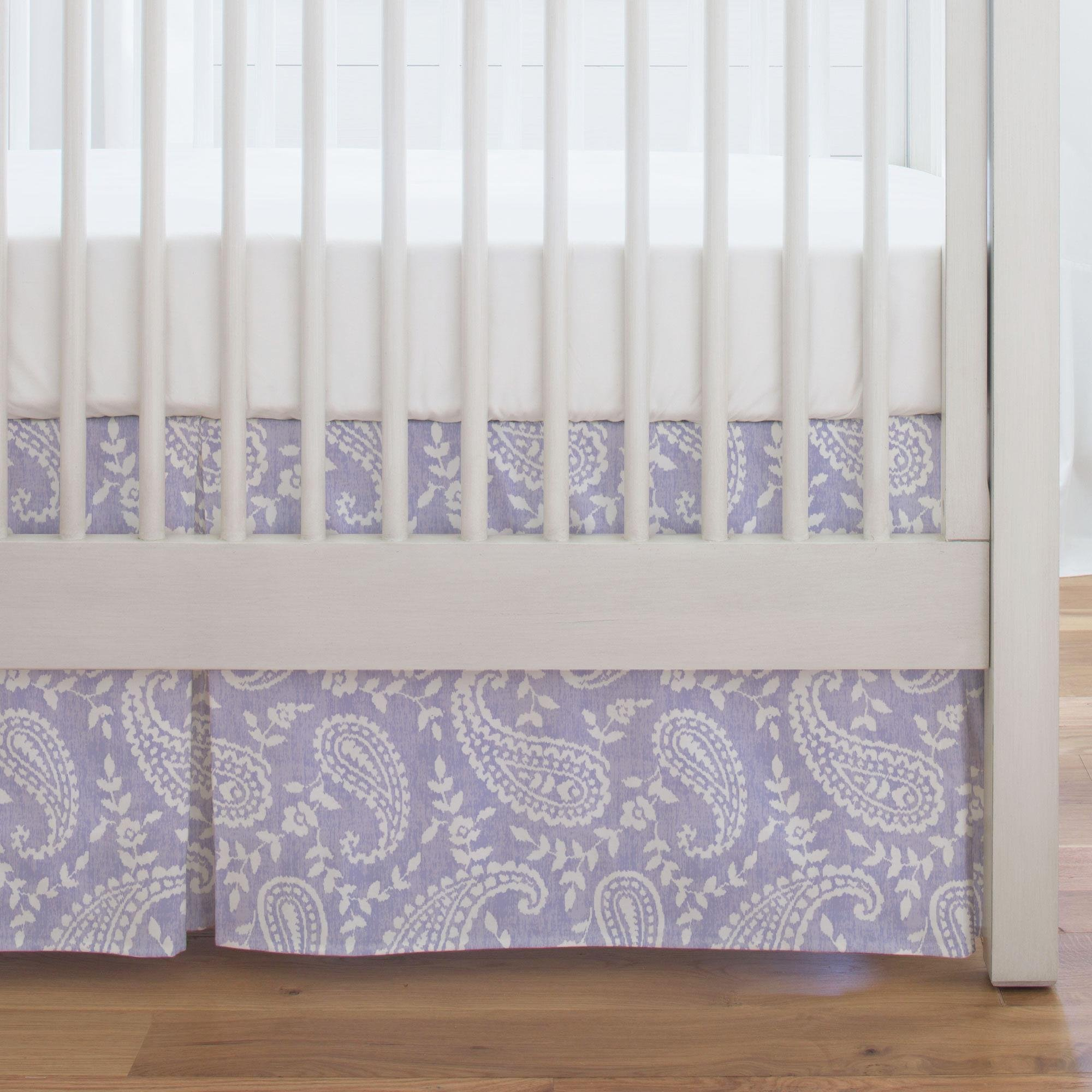 Carousel Designs Lilac Paisley Crib Skirt Single-Pleat 17-Inch Length - Organic 100% Cotton Crib Skirt - Made in The USA by Carousel Designs