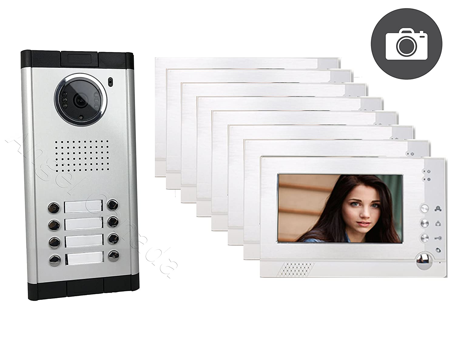 """Apartment Building Video Intercom (4-wire) with Eight 7"""" Color Monitor and Compatible Electronic Lock"""