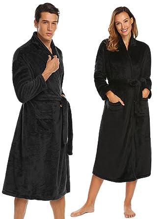 Ekouaer Women s Robe Long Super Plush Flannel Bathrobe Nightwear With  Pockets Black S 8f8362bff