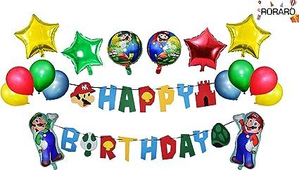 Amazon Com Roraro Mario Birthday Party Pack Banner Balloons Super Mario Bros Happy Birthday Banner Party Supplies Decorations Nintendo Birthday Party Decorations Kit Children Toys Games