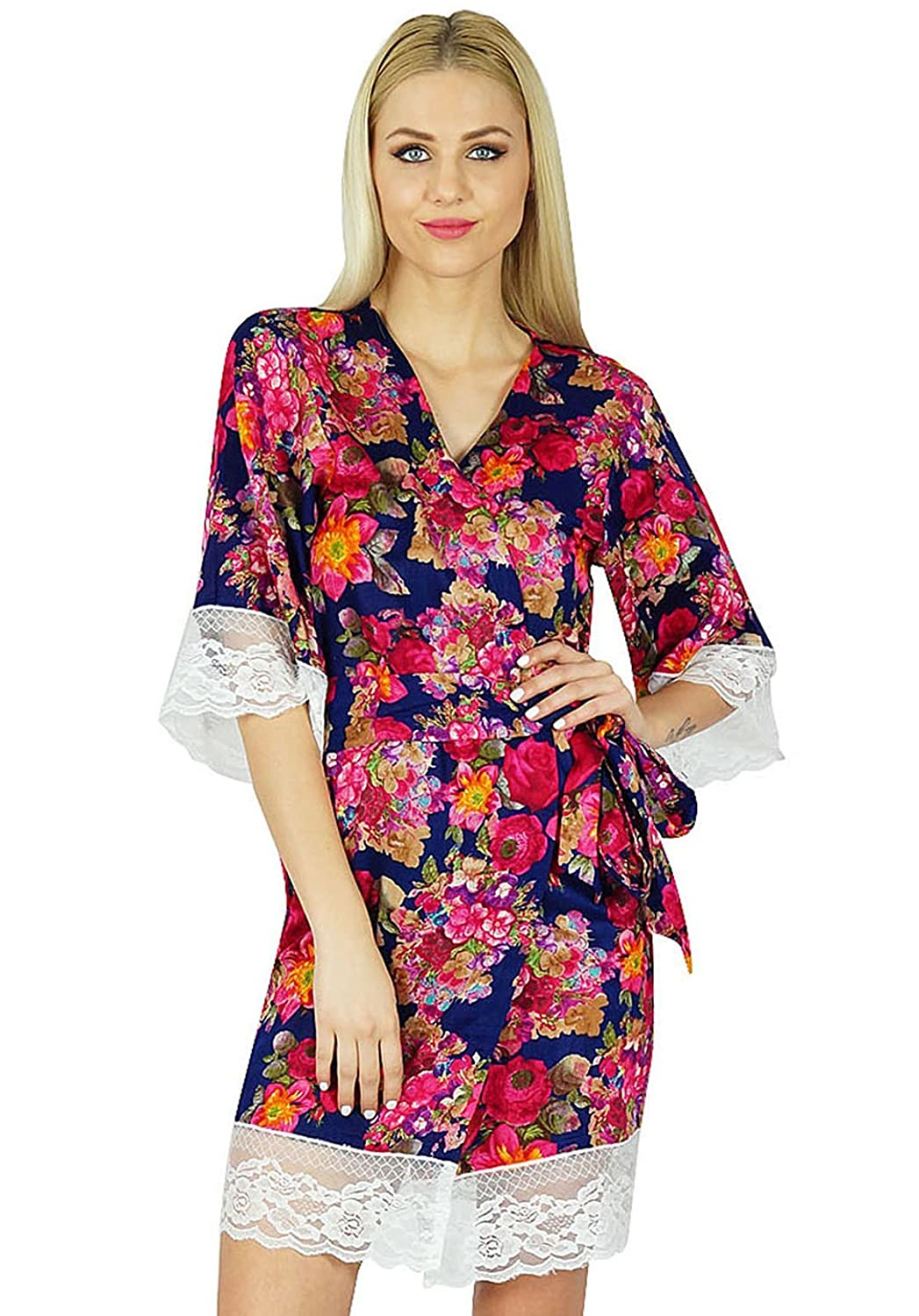fbbf947bed Bimba Women Floral Lace Robe Short Cotton Getting Ready Bridesmaid Robes at  Amazon Women s Clothing store