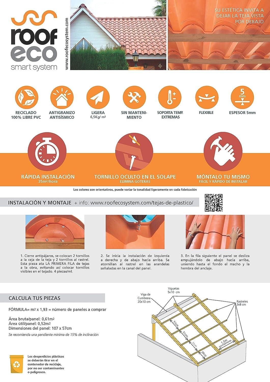Panel de Teja de Plástico Arcilla: Amazon.es: Bricolaje y herramientas