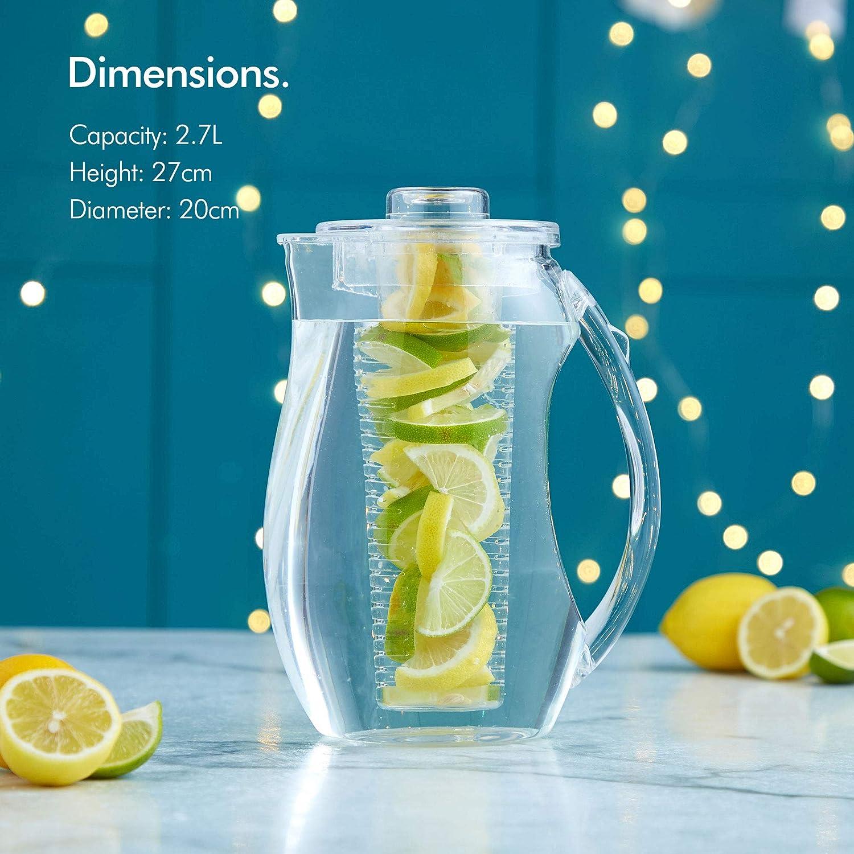 VonShef jarra plástica para infusión de frutas de 2.7l. núcleo de infusión para agua con sabor de frutas y bebidas granizadas: Amazon.es: Hogar