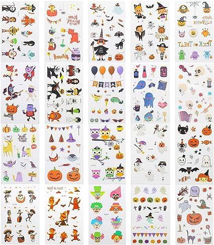 EKKONG 20pcs Halloween Tatuajes Temporales para Niños, Tatuaje ...