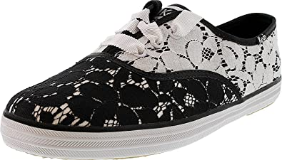9bbd8fb3bc0c Keds Women s Champion Lace Lace Black Cream Ankle-High Canvas Fashion  Sneaker - 8M