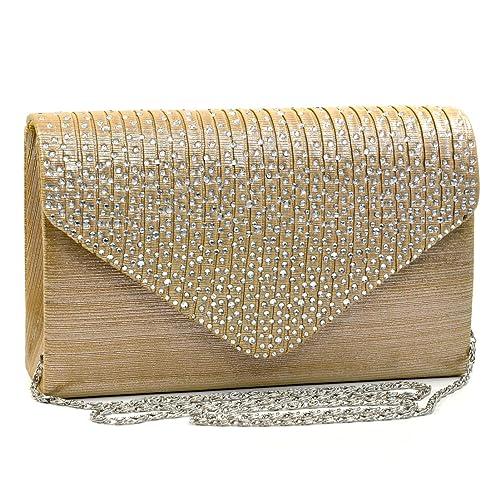 Dasein Frosted Satin Evening Clutch Crossbody Bag Purse Handbags Party Wedding Envelope