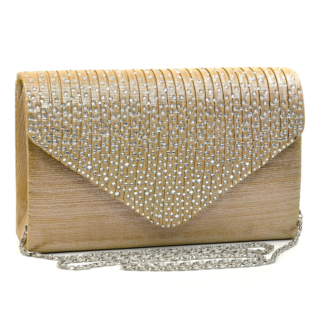 Womens Envelope Flap Clutch Handbag Evening Bag Purse Rhinestone Crystal Glitter Sequin Party Gold