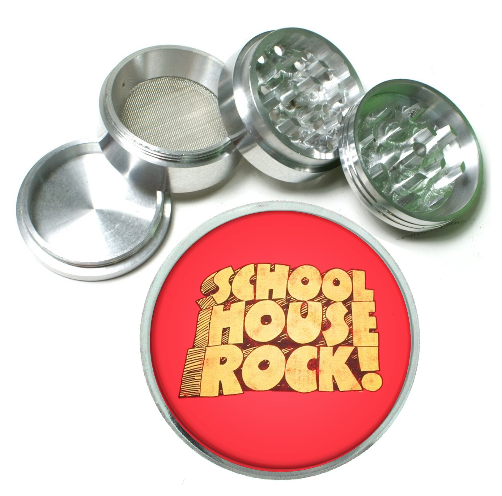 School House Rock Retro 4 Pc. Aluminum Tobacco Spice Herb Grinder