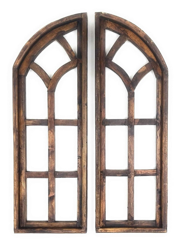 "36"" Farmhouse Wooden Wall Windows Set of 2-Wood Window Frame- Chariot Gardens- Farmhouse Brown"