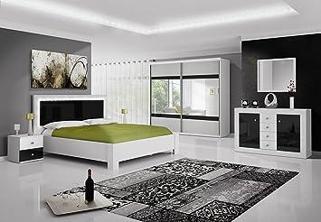 Chambre complète Roma Noir et Blanc laqué avec tête de lit LED ...