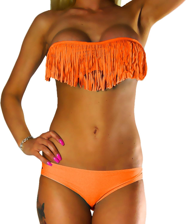 10411 ALZORA Bikini donna Tassel frange Fringe Push Up Set Top e pantaloni