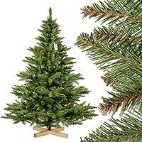 FairyTrees künstlicher Weihnachtsbaum NORDMANNTANNE, grüner Stamm, Material PVC, inkl. Holzständer, FT14/ FT15