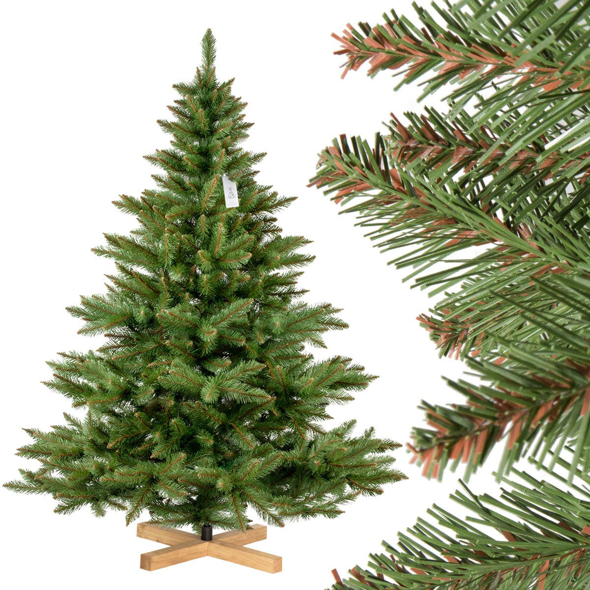 FairyTrees artificial Christmas tree NORDMANN'S FIR, green trunk, PVC material, wooden stand, 6ft / 180cm, FT14-180