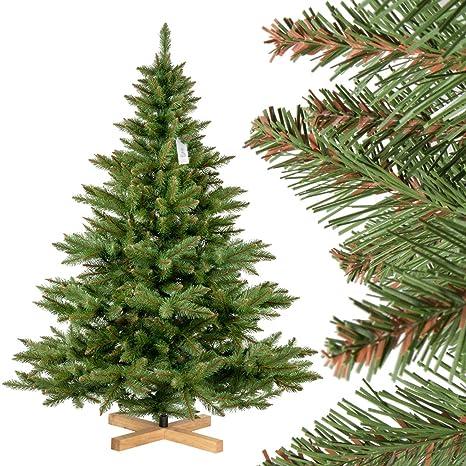 FairyTrees Weihnachtsbaum künstlich NORDMANNTANNE, grüner Stamm, Material PVC, inkl. Holzständer, 180cm