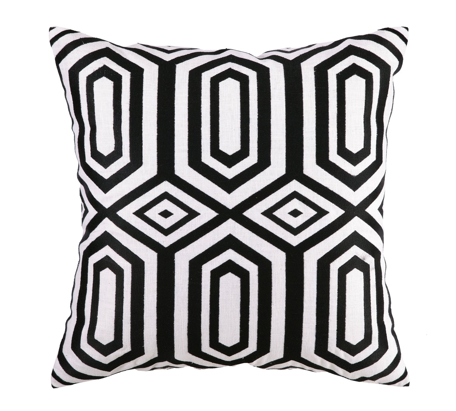 Jennifer Paganelli Hotel SOHO Linen Embroidery Pillow, 20 by 20-Inch, Black