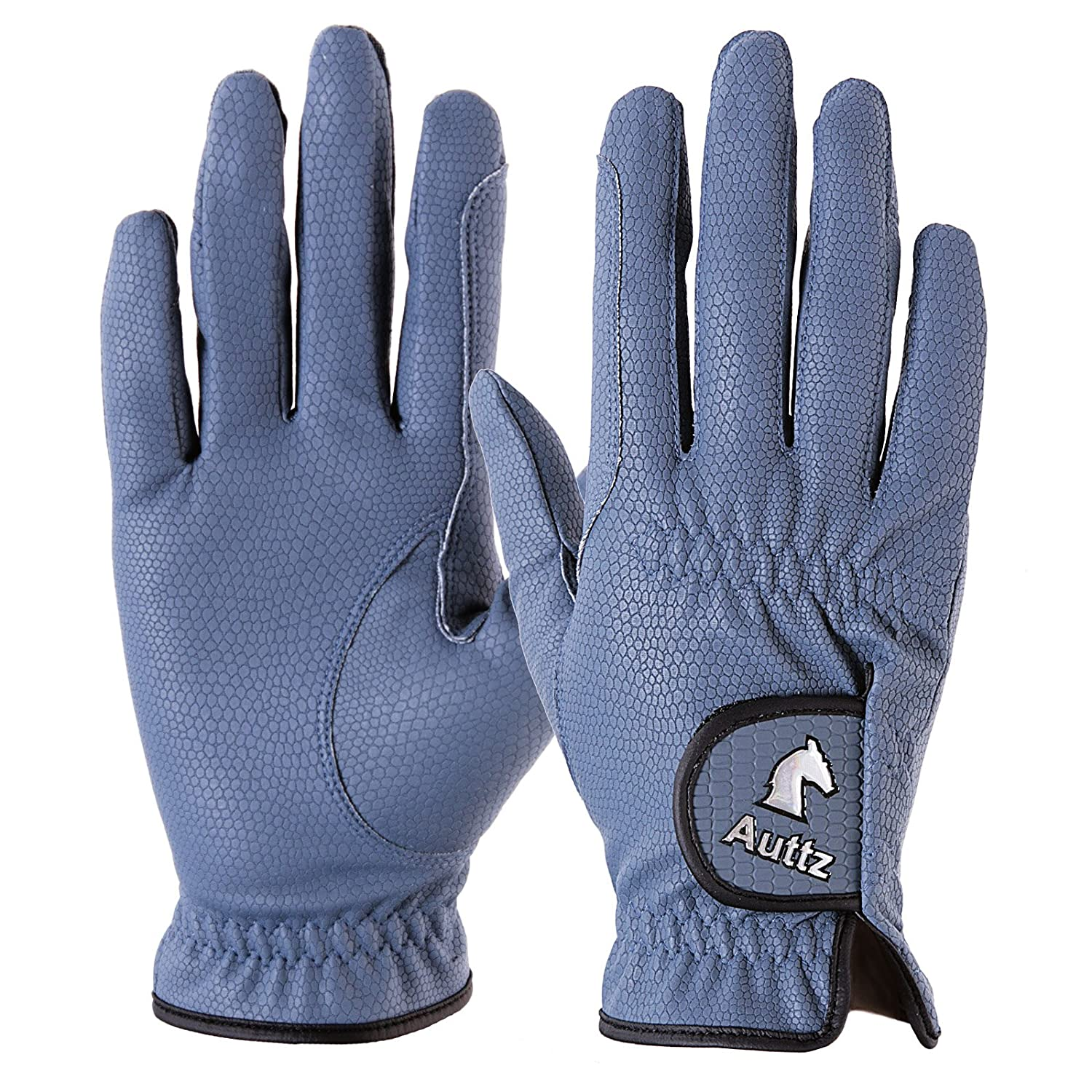 KMG Auttz Equestrian Horse Riding Gloves Synthetic Leather (Blue, 8 inches)