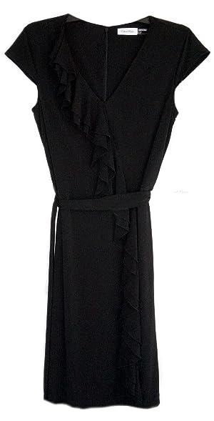 Calvin Klein Cap Sleeve Ruffle Black Dress At Amazon Womens