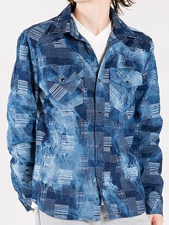 Amazon   インディゴ M シャツ メンズ 長袖 デニムシャツ パッチワーク インディゴ   シャツ・ワイシャツ 通販