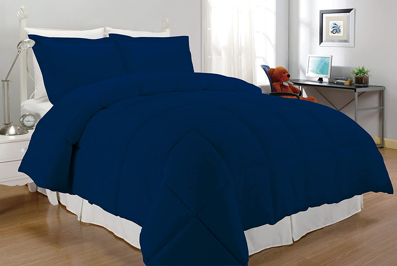 Navy South Bay Microfiber Down Alternative Comforter Set Twin