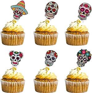 24 Pcs Dia De Los Muertos Cake Topper Day Of The Dead Cupcake Set Birthday Party Decor Favors Supplies Decorations Sugar Skull Skeleton Halloween Mexican